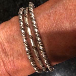 Set of 3 Vintage Zuni Sterling Silver Bracelets